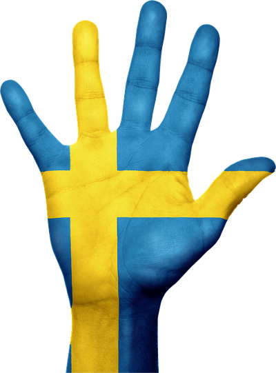 Hand with Sweden flag